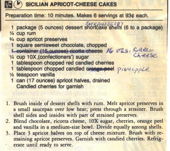 Sicilian Apricot Cheese Cakes
