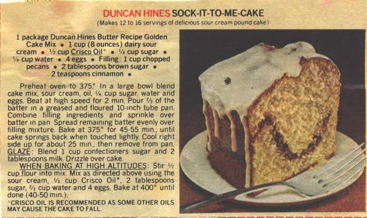Duncan Hines Recipe For Sock It To Me Cake